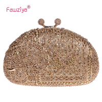 Kiss Lock Magnetic Clasp Elephant Crystal Clutch Evening Bags Cocktail Party Hand Clutch Wedding Party Bag