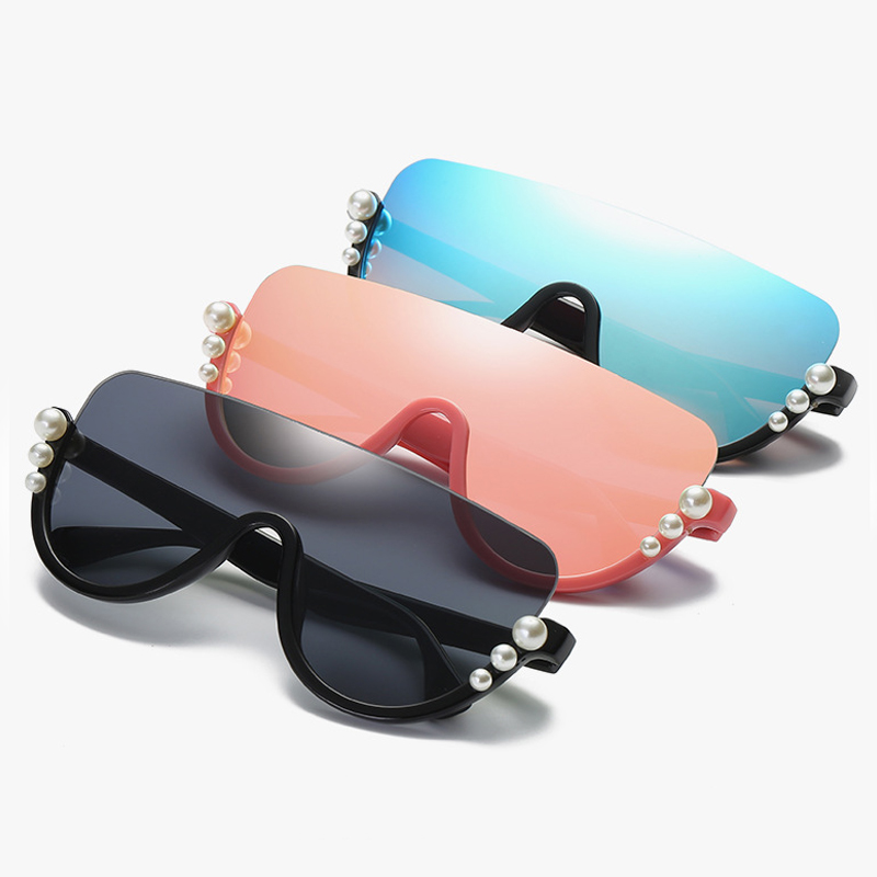 ALOZ MICC Luxury Pearl Half Rimless Sunglasses Women 2018 Fashion Big Frame Cat Eye Sun Glasses For Women Oculos UV400 Q570