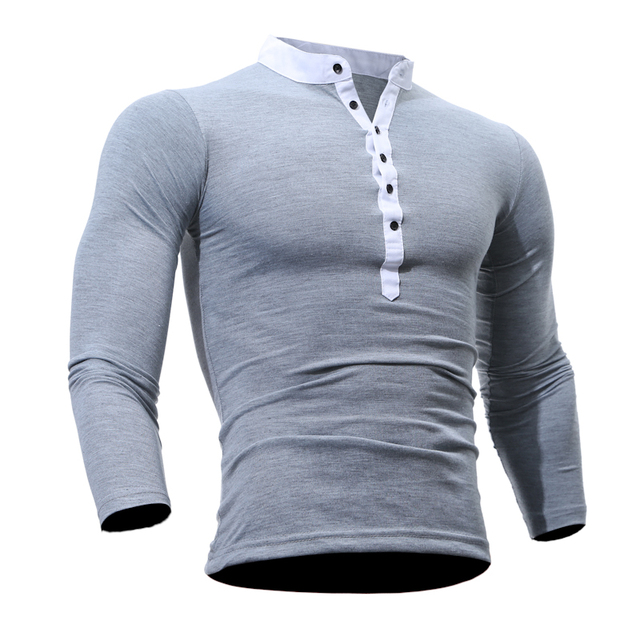 022adce2a07df Mens Polo marcas 2018 hombres manga larga moda casual Slim sólido v-cuello  botón Polo