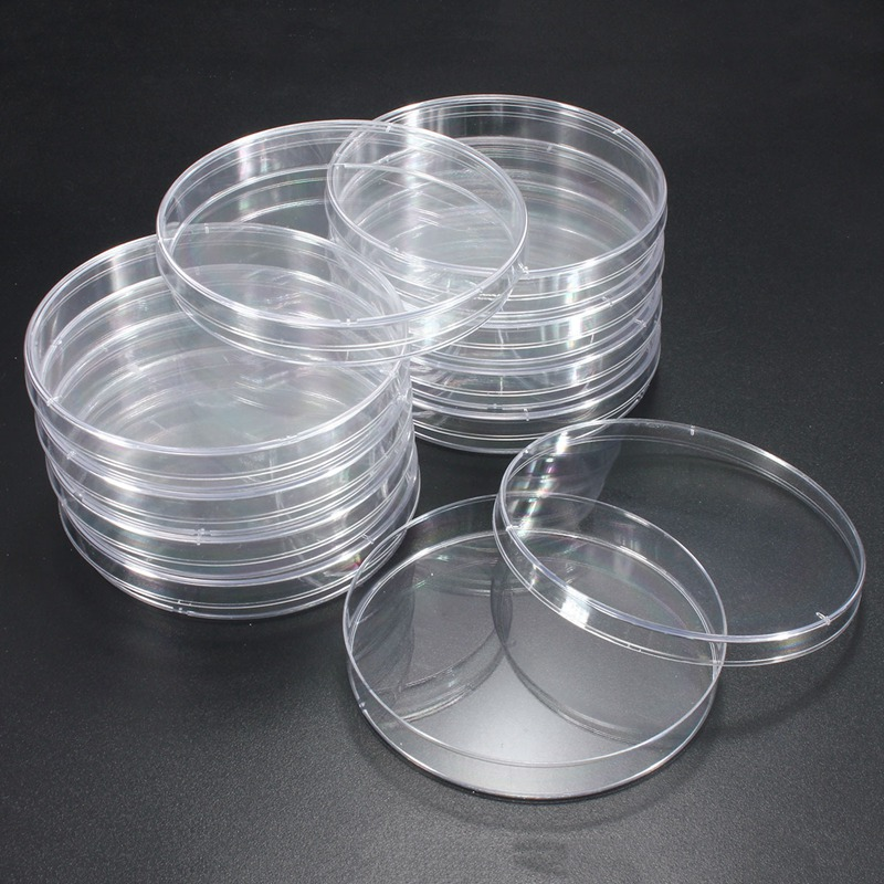 10Pcs 90x15mm Plastic Sterile Petri Dishes with Lids For ...