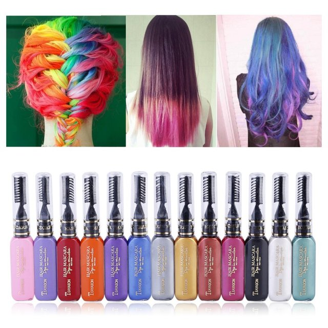 13 Colors One-time Hair Temporary Color Hair Dye Non-toxic DIY Hair Color Mascara Dye Cream Hair Wax Blue Grey Purple