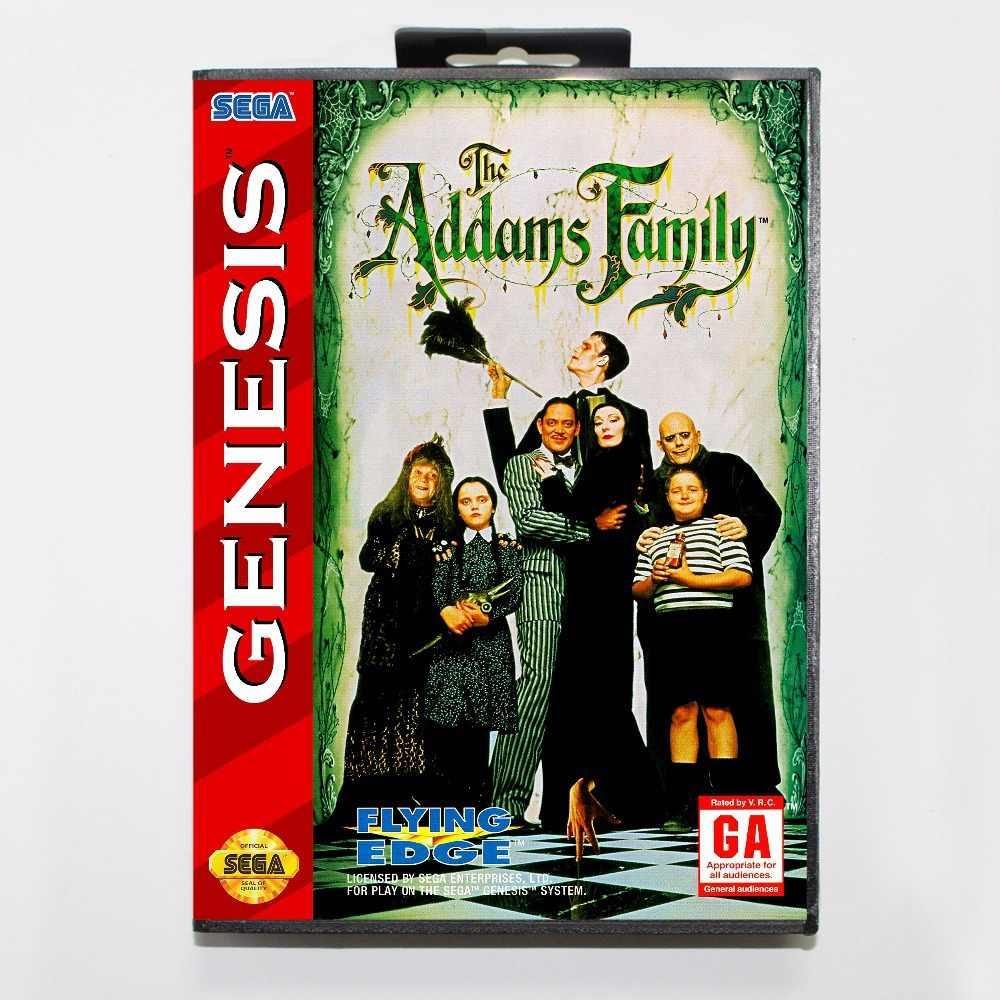 16 bit Sega MD game Cartridge with Retail box - Addams Family game card for Megadrive Genesis system