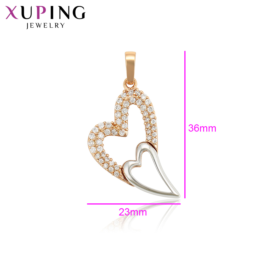 11.11 Deals Xuping Jewelry Romantic Heart Shaped Necklace Pendant With Synthetic CZ for Women Girls Valentines Day Gifts 34105