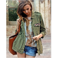 Autumn 2016 Womens Jacket Military Army Green Long Sleeve Colourful Beaded Pocket Button Boyfriend Style Femme Coats