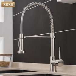 XOXO Kitchen Faucet Pull Out Cold and Hot Brushed Nickel Torneira  Rotate Swivel 2-Function Water Outlet Mixer Tap 1343A-S