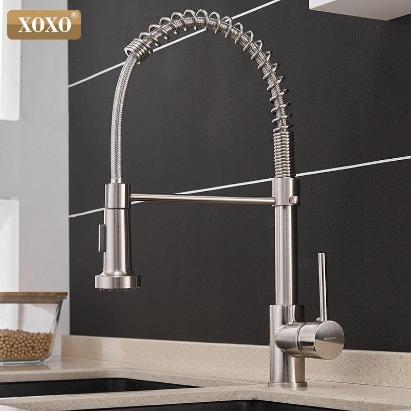 Xoxo torneira da cozinha retirar frio e quente níquel escovado torneira girar giratória 2-função de saída de água misturadora 1343a-s