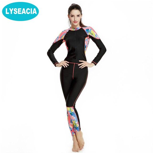 b32585321f1 LYSEACIA Full Body Women Wetsuit Slim Long Swimsuit Summer Swimming Diving  Suits Plus Size Wetsuits Women One-Piece Swimwear