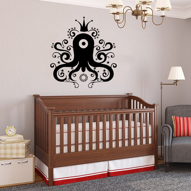 Black Cartoon Octopus Wall Sticker Kindergarten  Bedroom
