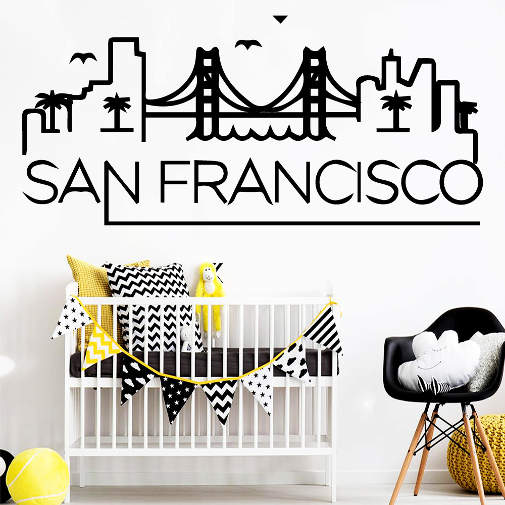 Cartoon Sanfrancisco Wall Sticker Waterproof Vinyl Wallpaper Home Decor For Living Room Stickers House Decoration Muursticker image