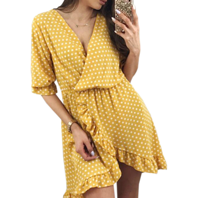 b9cb4bd29c Ruffles Split Irregular Dress Summer Polka Dot Women Boho Beach Girls  Sundress Sexy V-neck Half Sleeve Dresses Plus Size GV103