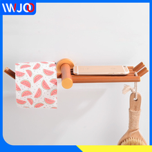 Creative Toilet Paper Holder with Shelf Wood Aluminum Roll Rack Wall Mounted Towel Mobile Phone