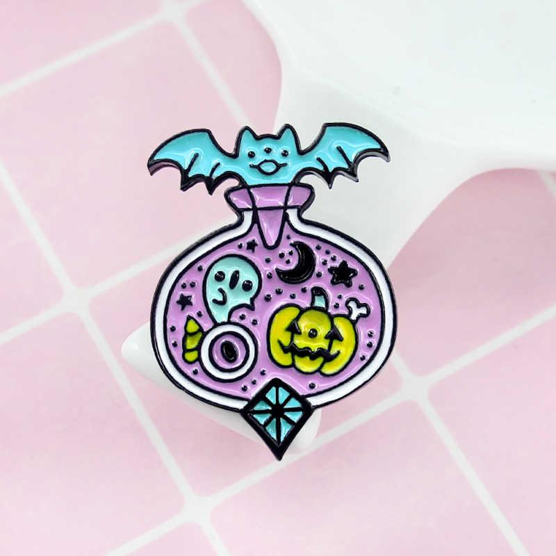 ฮาโลวีนค้างคาวฟักทอง Potion เคลือบเข็ม midnight magic ขวดยา fairy tale Pastel Gothic เข็มกลัดชุดอุปกรณ์เสริม