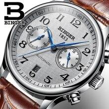Швейцарский бренд Binger Роскошные мужские часы Relogio водонепроницаемые часы Мужские автоматические механические мужские часы с сапфировым стеклом