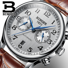 Switzerland Binger Luxury Brand Men's Watches Relogio Waterproof Watch