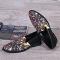 Печати Моды Случайные Квартиры Мужчины Платье Обувь Лоскутное Дизайн Chaussure Homme 2017 New Cool Мокасины Обувь Для Свадебные Оксфорды 46