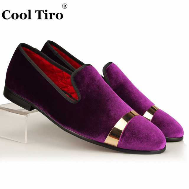 81188fa6675 COOL TIRO Men Velvet Dress Shoes Purple Velour Loafers Slippers Gold Metal  Sheets Wedding and Party