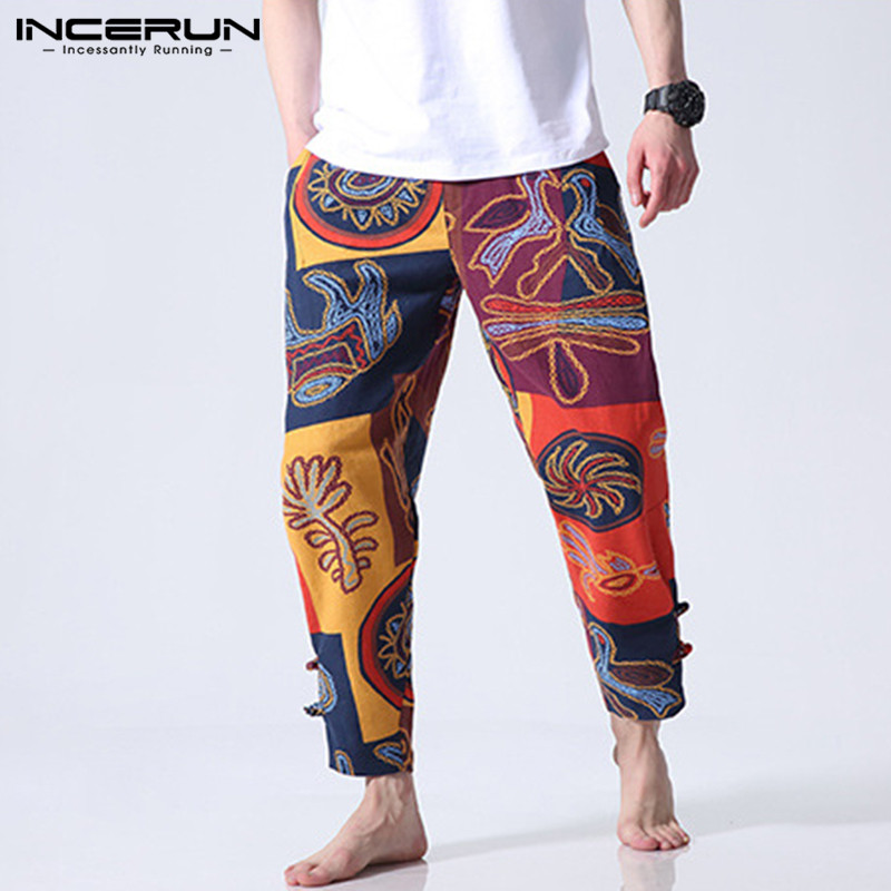 Men Casual Pants Chinese Ethnic Print Baggy Cotton Elastic Waist Trousers Men Joggers Harem Pants Pantalon Hombre Plus Size