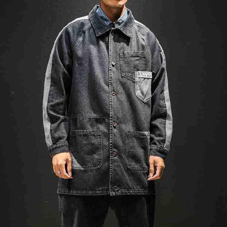 Palangre poche Patchwork Vintage corvée manteau hommes Demin veste en détresse Jean hauts - 4
