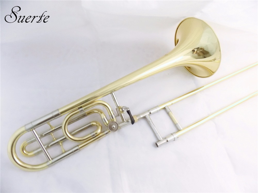 Bb/F Brass Tenor Trombone slide Lacquer surface with trombone Case and Mouthpiece Brass Musical instruments professionalBb/F Brass Tenor Trombone slide Lacquer surface with trombone Case and Mouthpiece Brass Musical instruments professional