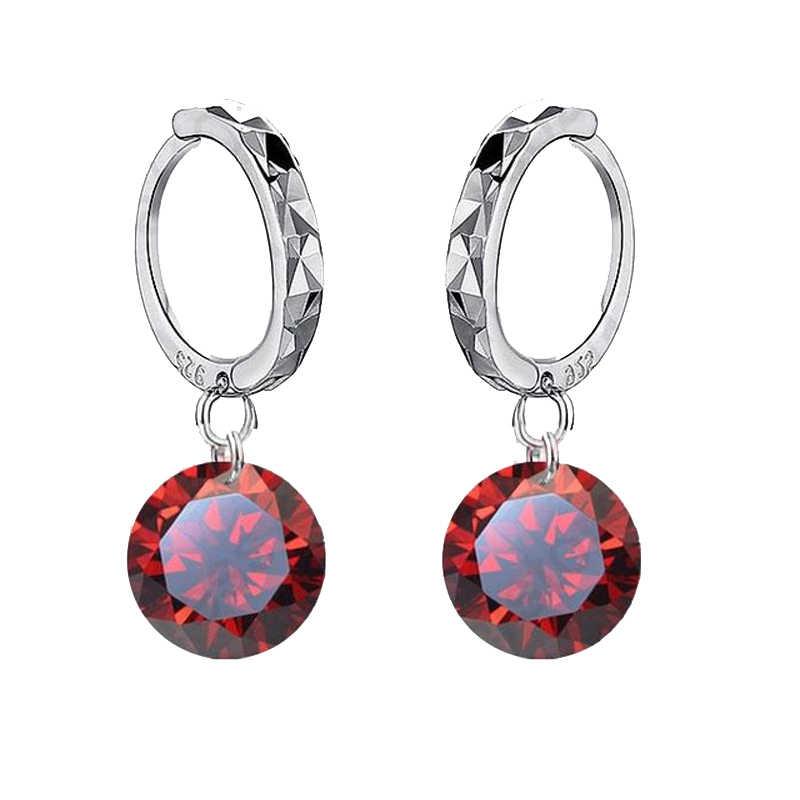 Beautiful Round Fashion Pendant Earrings Brilliant Cubic Zirconia 925 Sterling Silver Sweet Women Girls Present Big Sale