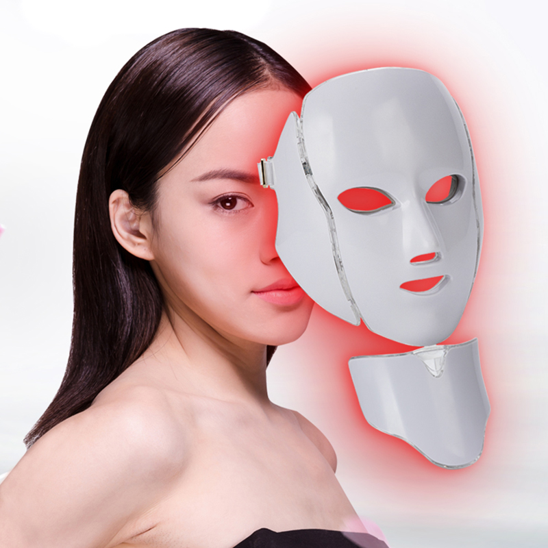 7 Color LED Facial Neck Mask Light Photon Massage Mask Wrinkle Acne Wrinkles Removal Skin Rejuvenation