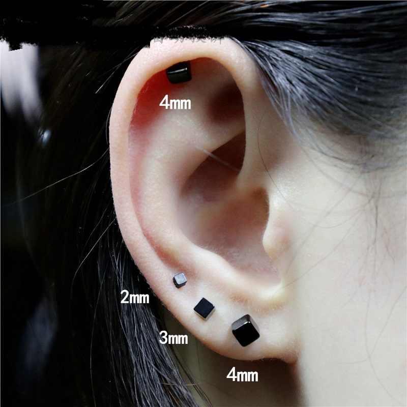 블랙 quare 귀걸이 남자 골드 스터드 귀걸이 힙합 작은 스터드 귀걸이 스테인레스 스틸 스파이크 보석 가짜 귀 터널