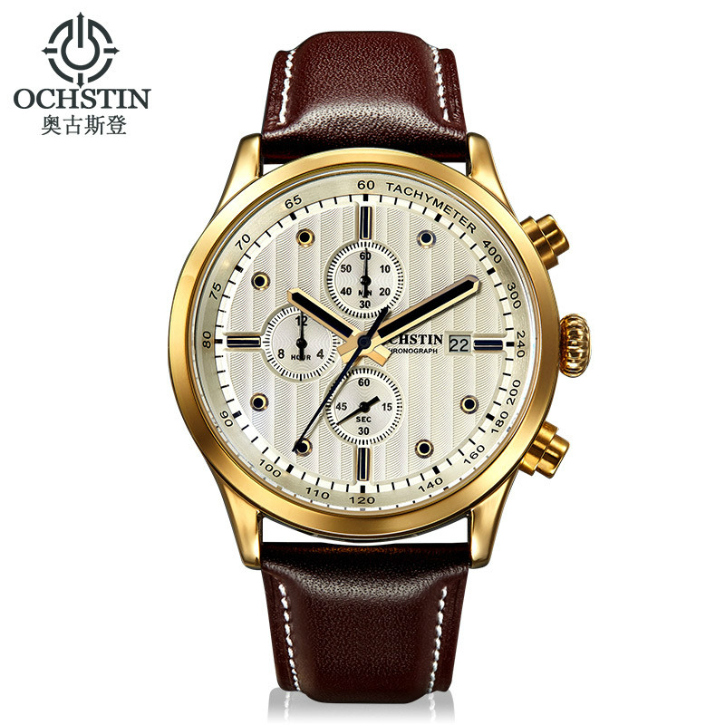 OCHSTIN Men Watches Luxury Brand Casual Leather Band Quartz Wristwatch Male Chronograph Luminous Sports Clock Relogio Masculino sunward relogio masculino saat clock women men retro design leather band analog alloy quartz wrist watches horloge2017