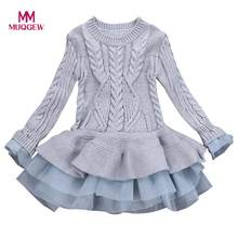 bc8d91f22dd835 MUQGEW Kinder Kleid Mädchen Gestrickte Pullover Winter Pullover Häkeln Tutu  Kleider Tops Kleidung Fashion Solid Warme