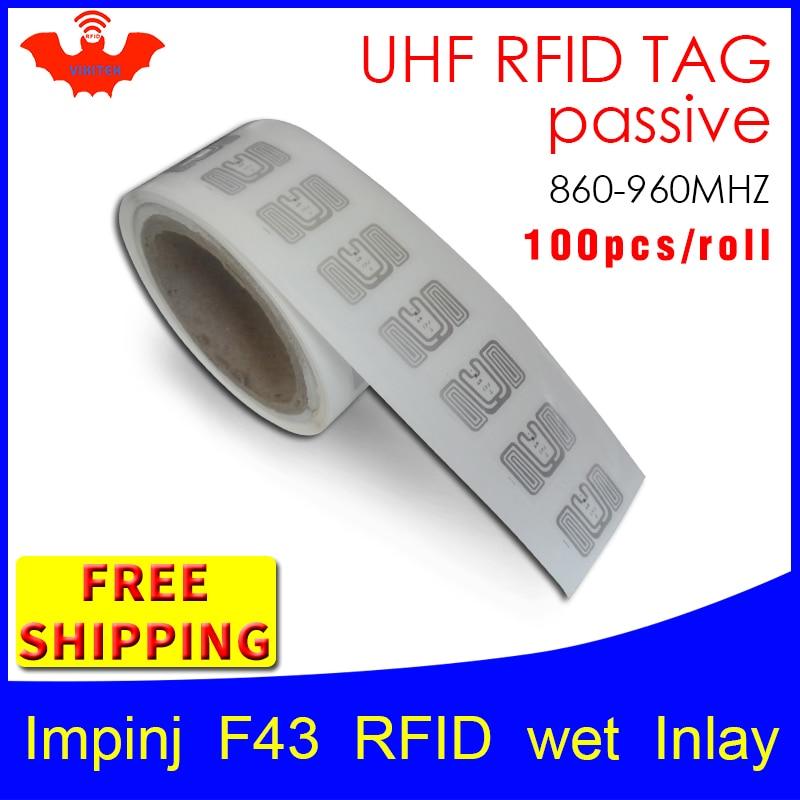 UHF RFID tag EPC 6C sticker Impinj F43 wet inlay 915mhz868mhz860 960MHZ Higgs3 100pcs free shipping adhesive passive RFID label