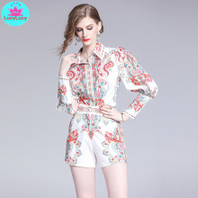 2019 summer new exquisite pattern print two-piece womens long-sleeved shirt belt A word pants