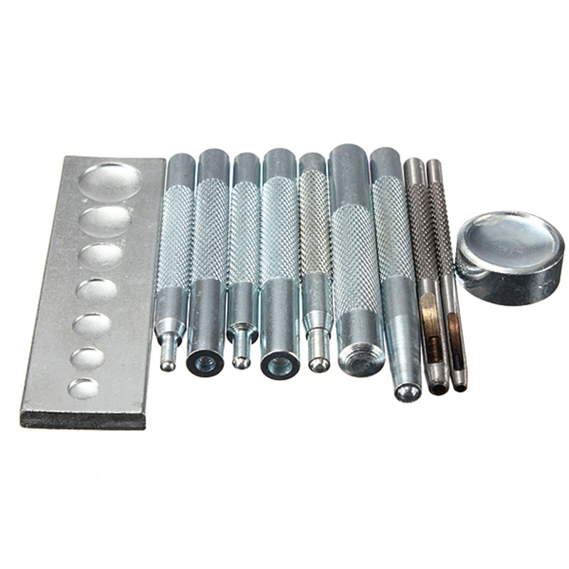 11Pcs/set Metal Craftool Die Punch Snap Rivet Tool Setter Base Set DIY Leathercraft Kit For punch hole and install Rivet Button irish setter is2847 raptor дешево