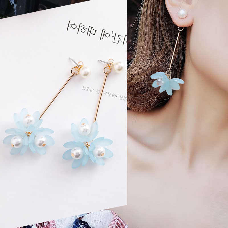 New Fashion Flower Elegant Earrings For Women Charm Pearl Flower Drop Long Dangle Wedding Earrings Jewelry Best Gift Wholesale