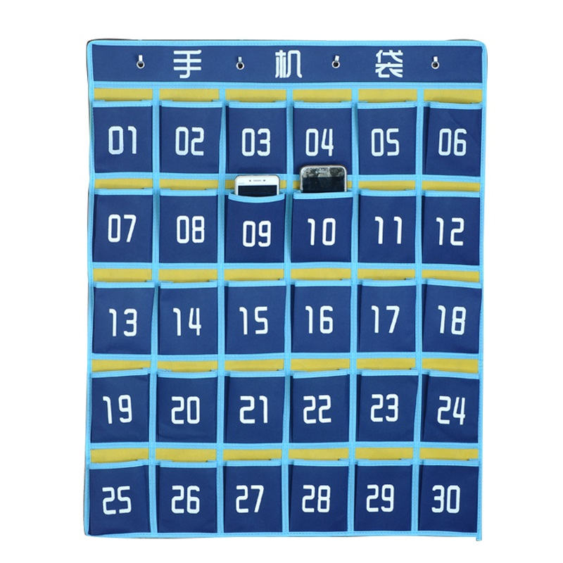 Storage-Box Student Fabric Bag 30-Grid-Cell Hanging-Phone-Bag Dormitory Mobile-Phone