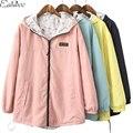 1 PC Outono Jaqueta Mulheres Casacos Básicos Moda Impressão Jaqueta Feminina Primavera Outerwear Casaco Com Capuz Reversível Two-Side Wear ZZ3600