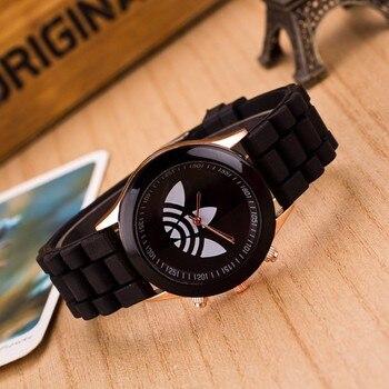 reloj hombre2019 New quartz wrist watch Fashion Leaf grass sports Brand women men jelly silicone zegarki meskie