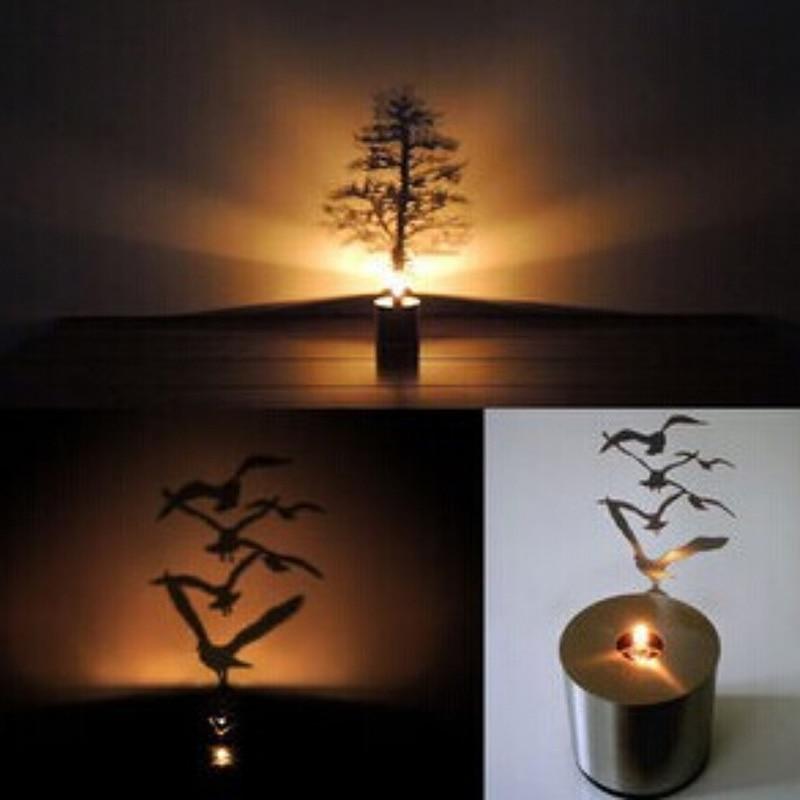Home novelty projection night lamp led shadow projection christmas tree birds night light - Birdhouse nightlight ...