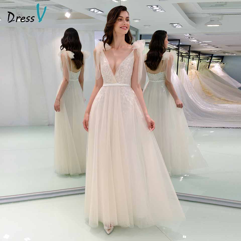 Dressv Elegant Wedding Dress V Neck Lace Bowknot Zipper Up A Line Floor Length Bridal Outdoor&church Wedding Dresses
