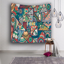 Psychedelic Mandala Tapestry Wall Hanging Geometric Colors Printed Indian Tapestries Bohemian Polyester Art Carpet Shawl Blanket