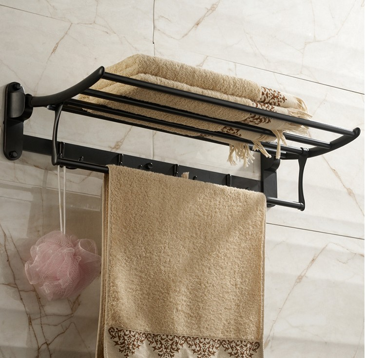 2016  Stainless steel Material Black Finish Design Towel Rack,Bathroom Accessories Towel Bars Shelf,Vintage Folding Towel Holder new arrival bathroom towel rack luxury antique copper towel bars contemporary stainless steel bathroom accessories 60cm k301