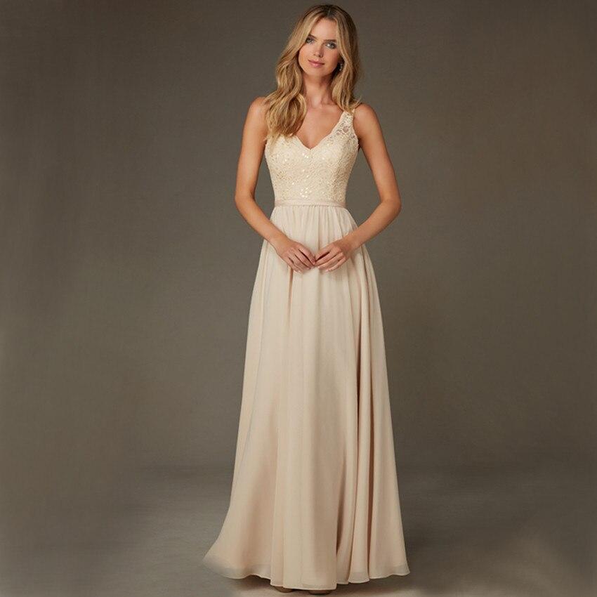 champagne chiffon backless v-neck lace prom gown 2018 sequined vestido de noiva robe de mariage louisvuigon   Bridesmaid     Dresses