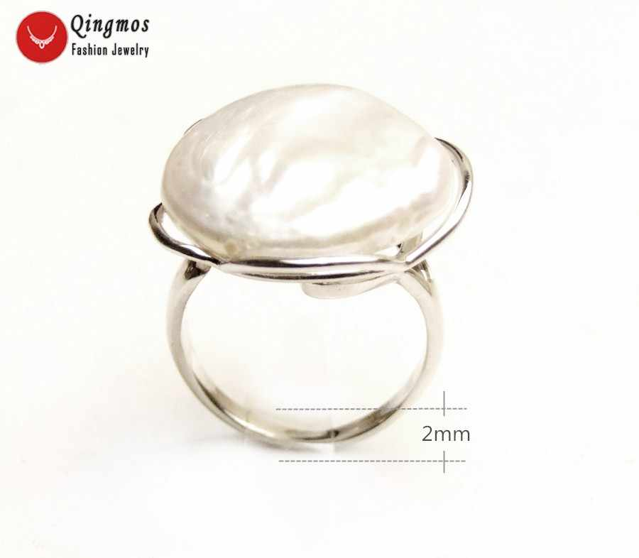 Qingmos Natural Pearl Ring for Women With 20mm White Coin Round Pearl & Silver Plate Metal Ring Jewelry Adjustable #8-#10 Ring