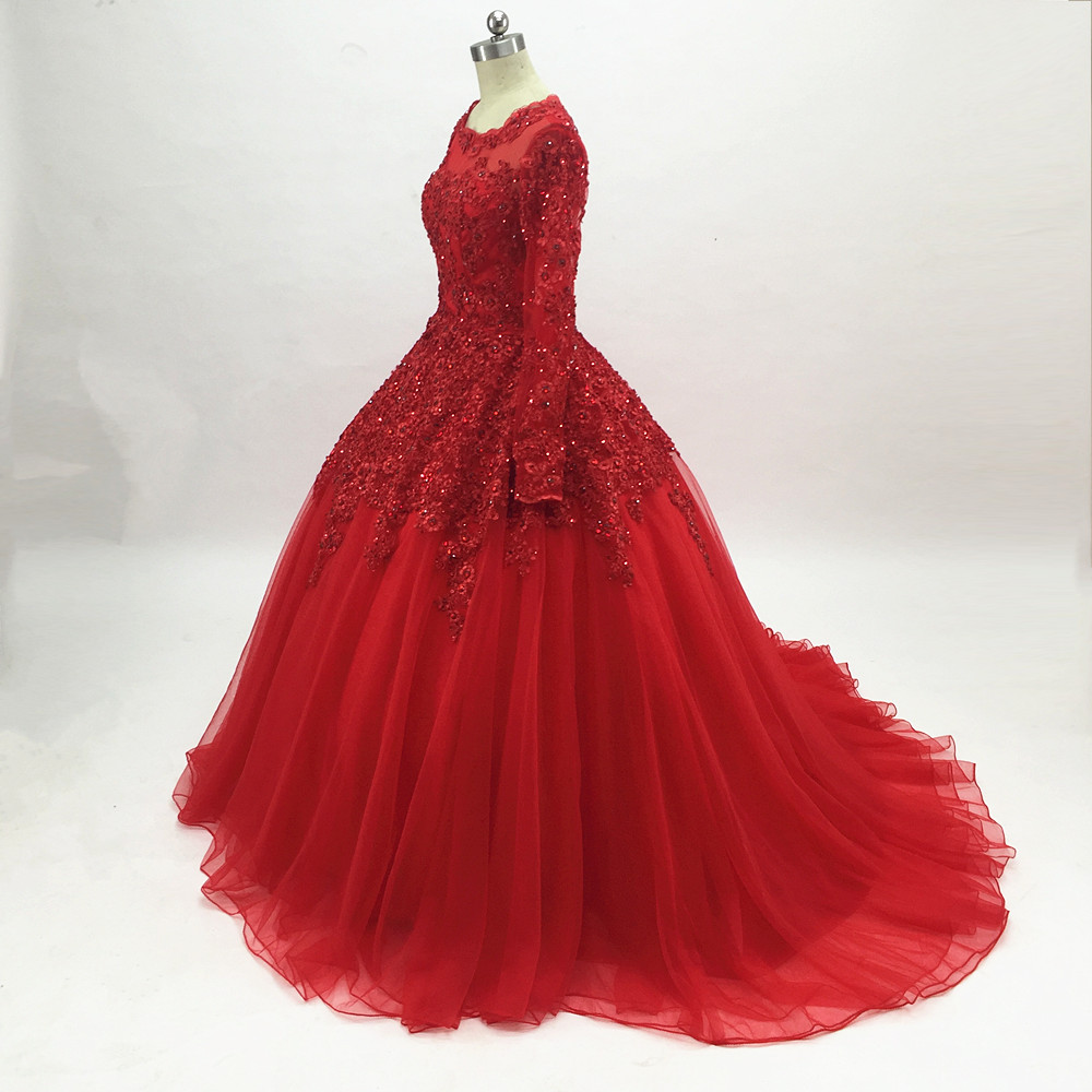 Ball Gown Red Prom Dresses 2019 Long Sleeves Princess Lace Evening Gowns Formal Party Dresses vestido de 15 years robe de soiree