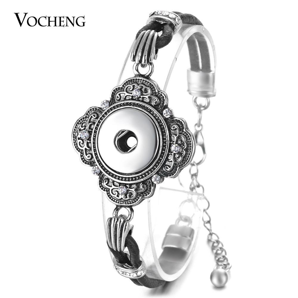 10PCS//Lot 18mm Vocheng Snap Charms Genuine Leather Bracelet 4 Styles NN-530*10