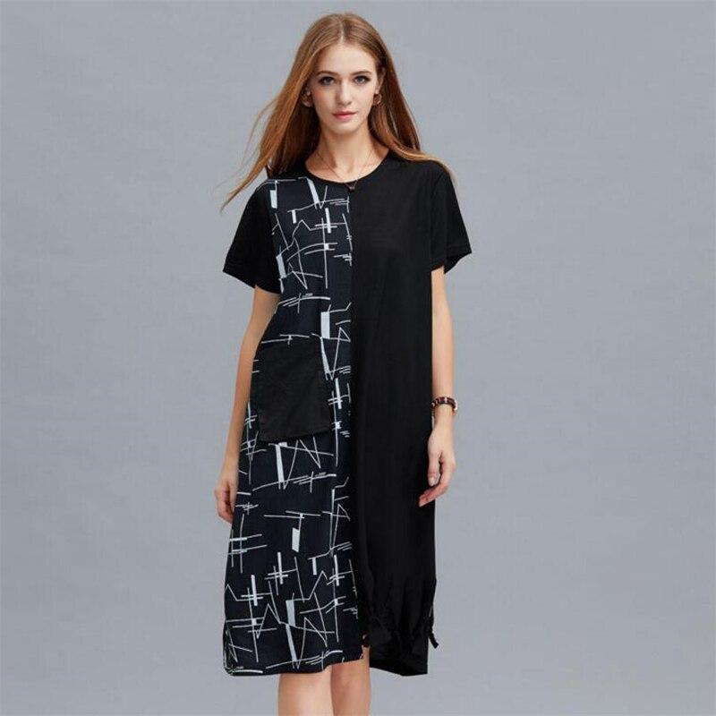 Mode pas de règles impression couture tenue décontractée femmes robe d'été à manches courtes robes de soirée femme grande taille lâche robe Vestido