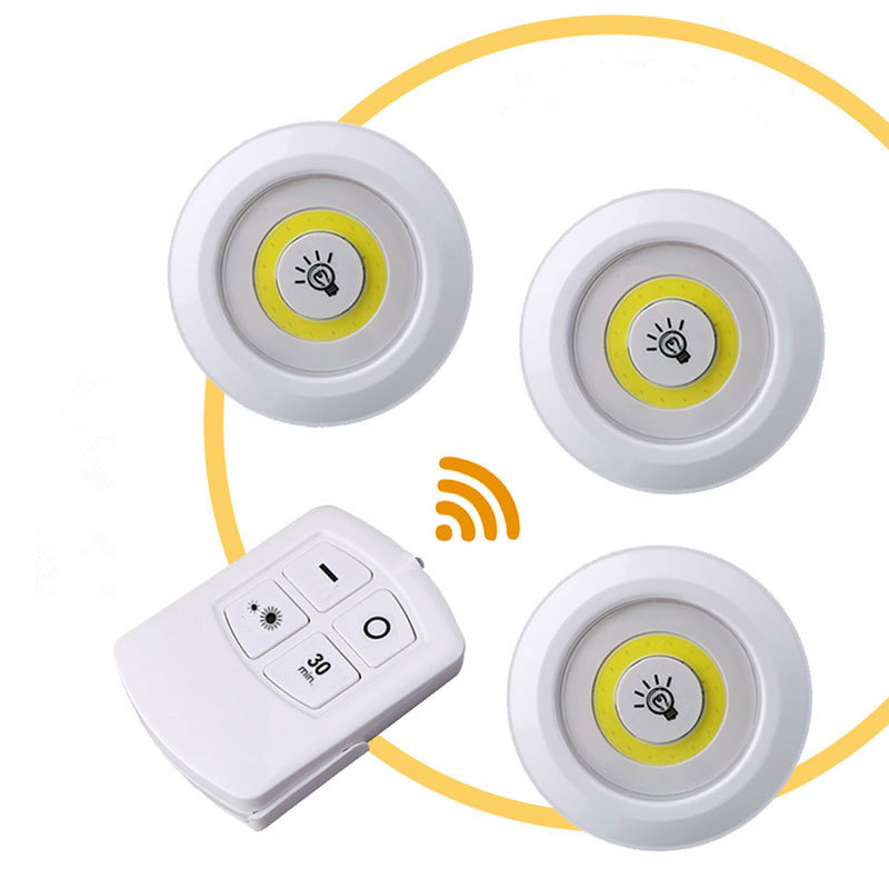 3 PCS Cabinet Light Wireless Spot Light Stick-On Anywhere Tap Night Lamps Battery NOT Included   LED Under Cabinet Night Light