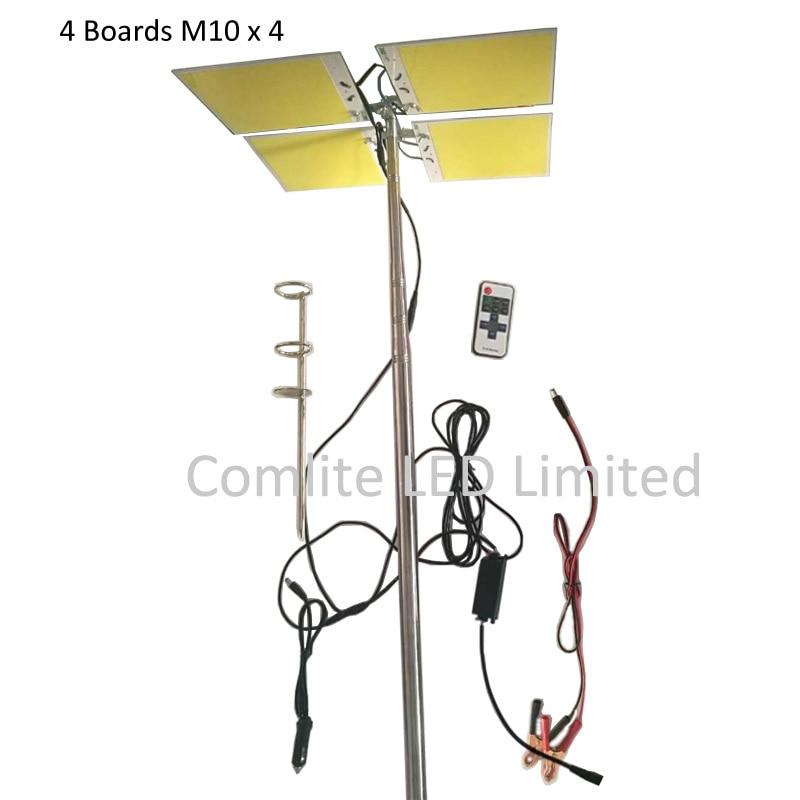 ФОТО 224pcs LEDs Boards x 4 COB 12V LED Telescopic Fishing Rod Outdoor Lantern Camping Light 5 Meters Fishing Rod Road Trip