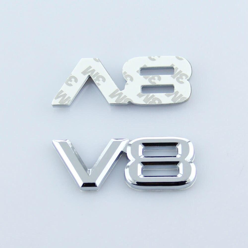 Autocollant de tronc de voiture en métal 3D V8 auto emblème Decal Fender Badge Autocollants pour voiture Fit A1-8 Allroad Q3-5 R8 S3 Style de voiture universel