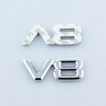 3D Metal V8 Car Auto Trunk Sticker Emblem Decal Fender Badge Bumper Stickers Fit A1-8 Allroad Q3-5 R8 S3 Universal Car Styling
