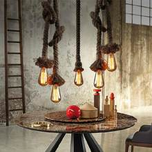 Modern retro hemp loft Chandeliers led lamps European Personality DIY decoration led chandelier E27 led lustre light Chandelier(China)