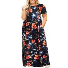 Women Summer Floral Print Dress Casual Vintage Large Size Short Sleeve Elegant Long Pocket Vestido Plus 3XL-9XL